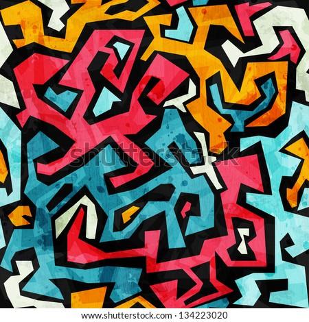 bright graffiti seamless pattern with grunge effect - stock vector