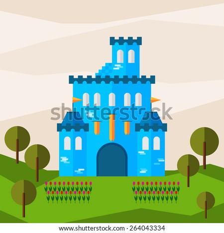 Bright graphic illustration with cartoon glaring blue colored castle for use in design for card, invitation,  banner, poster or placard background - stock vector