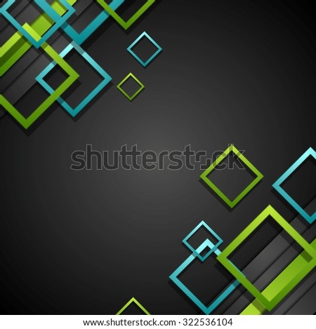Bright green and blue squares on black background. Vector design - stock vector