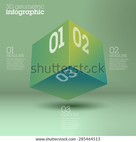 Bright green cube infographic design / abstract form suitable for infographics, book cover or web banner or user interface