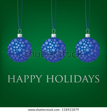 Bright green Happy Holidays bauble card in vector format.