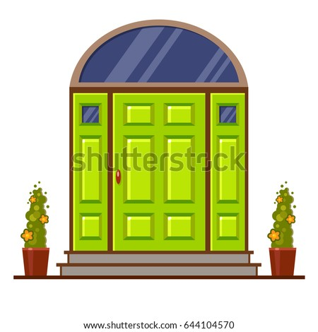 Bright Green Modern Front Door Two Stock Vector Royalty Free