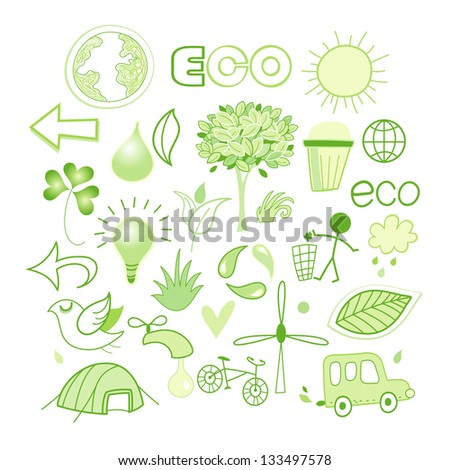 Bright green vector different images of the ecology. elements of Design - stock vector