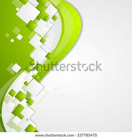 Bright green wavy tech abstract background. Corporate vector design - stock vector