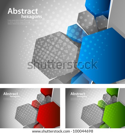 Bright grey background with 3d color hexagon - stock vector