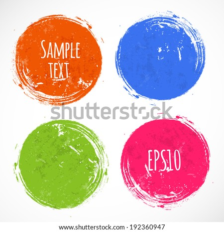 Bright grunge circles with place for your text. Vector illustration.