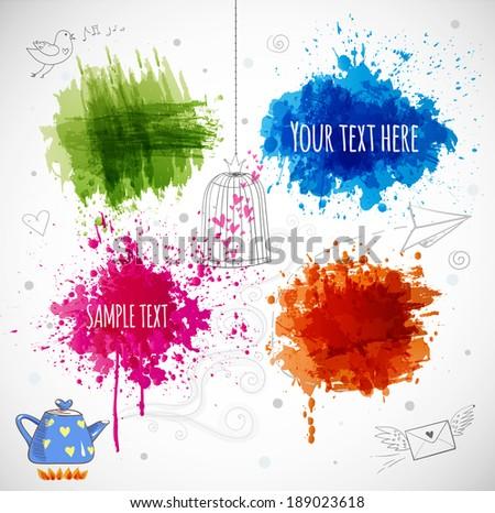 Bright grunge splashes for your design. Vector illustration. - stock vector
