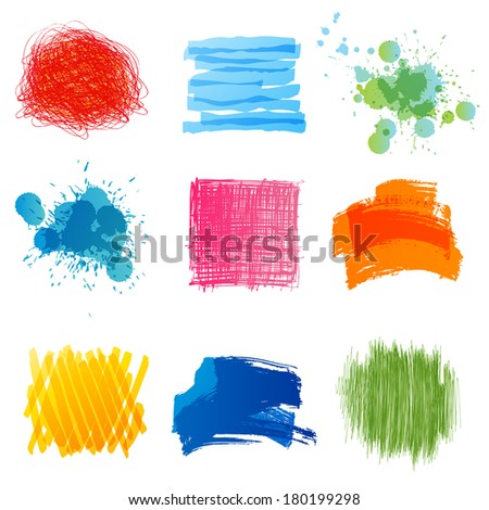 Bright hand drawn design elements - stock vector