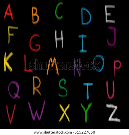 Bright hand-drawn multicolored alphabet on a black background for your design