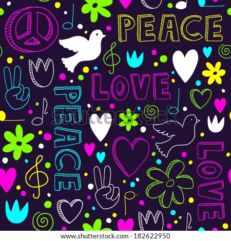 Bright hand-drawn seamless pattern with symbols of peace - doves, hearts, peace signs, flowers and lettering, - neon doodles on dark purple background - stock vector