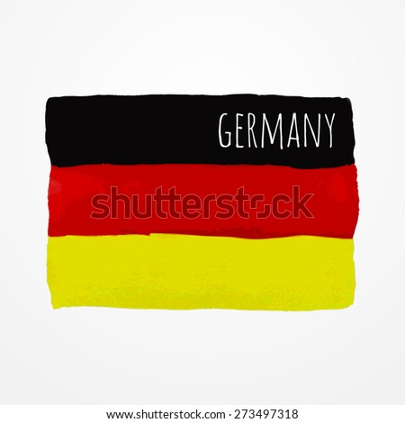 Bright hand drawn watercolor Germany flag with sample text - stock vector