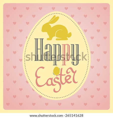 Bright happy easter card in vector. Easter bunny with Postcard with Easter eggs. Happy Easter. Easter greeting card. Easter card design. - stock vector