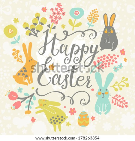 Bright happy easter card in vector. Funny rabbits, chicken, eggs in cute cartoon style. Stylish holiday background - stock vector