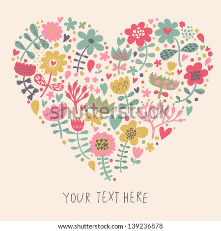 Bright heart made of flowers in vector. Romantic cartoon invitation card. Stylish design element in bright colors - stock vector