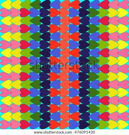 Bright hearts made in different colors beautiful texture, background, pattern on turquoise background, vector
