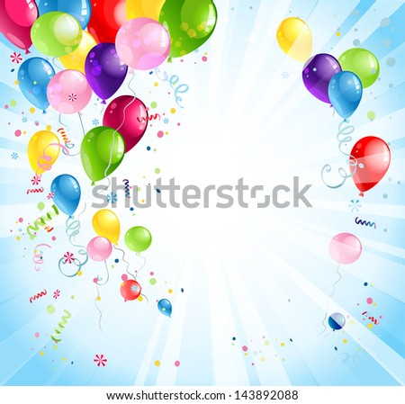 Bright holiday background with balloons and flags - stock vector