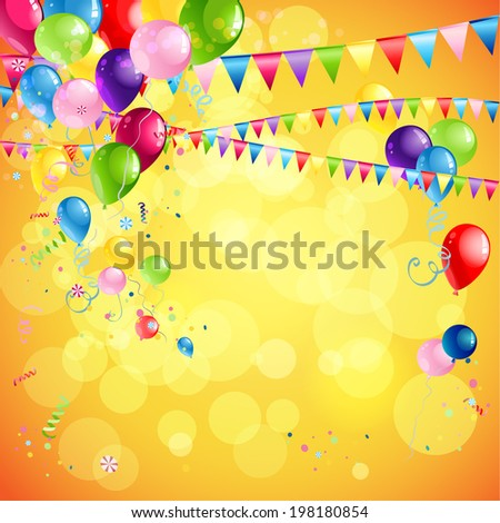 Bright holiday background with balloons, flag and confetti. Place for text. - stock vector