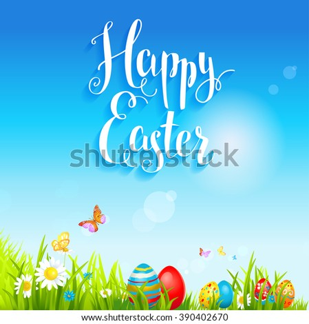 Bright holiday background with flowers and eggs. Background for design card, banner,ticket, leaflet and so on.Template page with handwritten inscription Happy Easter. Holiday card. Place for text. - stock vector