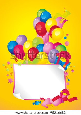 Bright Holiday composition of balloons, gift boxes, confetti,, sweets, serpentine, and a sheet of paper for your text congratulations - stock vector