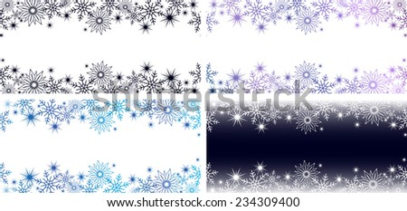 bright horizontal blue and purple banners with snowflakes and stars for a winter or Christmas design
