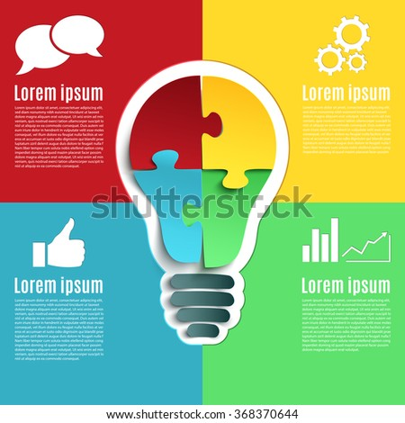 Bright idea, creative conceptual infographic with bulb and four jigsaw puzzle pieces. Vector illustration. - stock vector