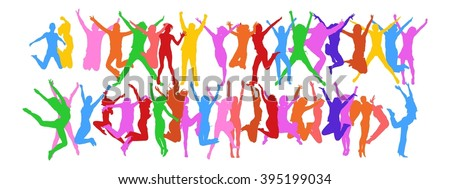 Bright Idea Success Concept - colorful silhouettes of people jumping - stock vector