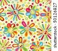bright joyful flowers in pattern - stock vector