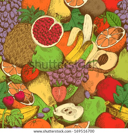 Bright juicy fresh fruits seamless pattern vector illustration - stock vector