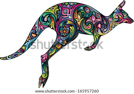 Bright kangaroo - stock vector