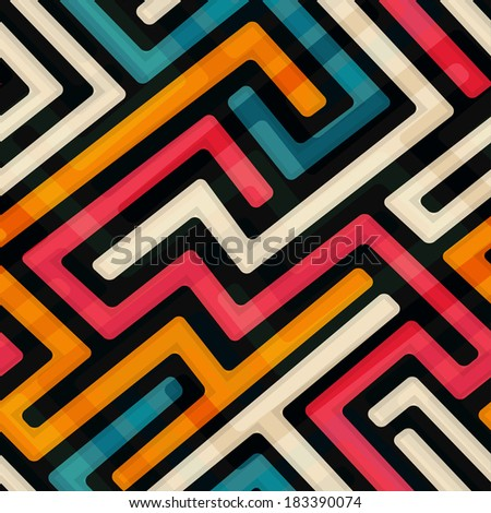 bright labyrinth seamless pattern - stock vector