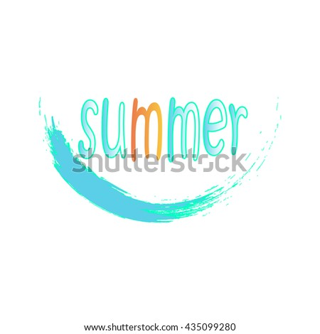 bright lettering summer on a blue  wave - stock vector