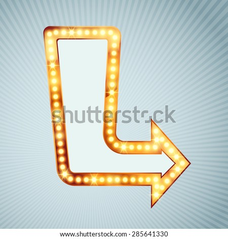 Bright light bulb pointing arrow sign retro comic style vintage direction arrow marquee. Vector illustration - stock vector
