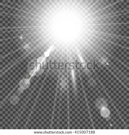 Bright light flash isolated over transparent background. White glowing light burst with bokeh effect. Vector star light radiance. Vector EPS 10. - stock vector