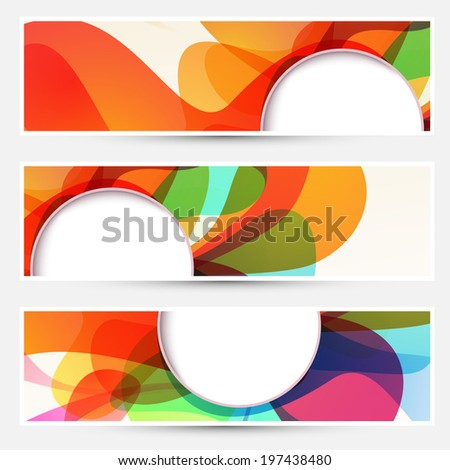 Bright liquid flow colorful banners set. Vector illustration - stock vector
