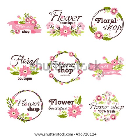 Bright logo for flower shop. Set hand drawn emblems and floral signs for flower shop. Flower shop labels. Doodles, sketch floral and gardening logos and signs trendy linear style emblems flower shop. - stock vector