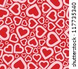 Bright love red heart seamless background pattern - stock vector
