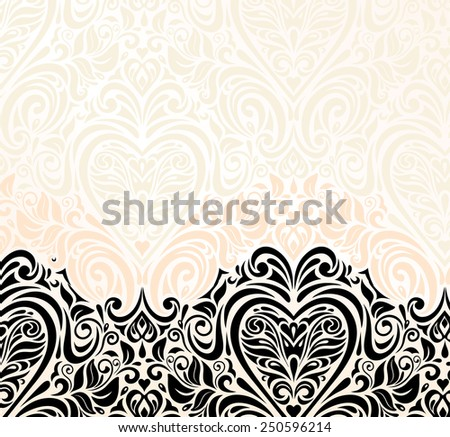 Bright luxury vintage wedding popular  ecru & black pastel invitation wallpaper background - stock vector