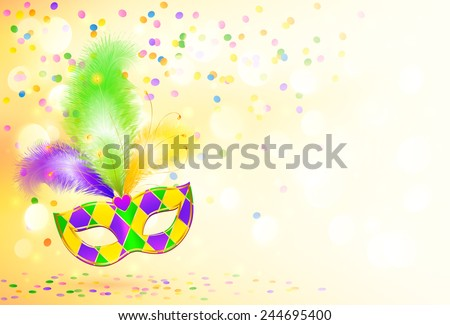 Bright Mardi Gras carnival mask vector poster background - stock vector