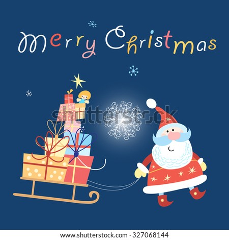 bright merry Christmas card with Santa Claus   - stock vector