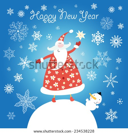 bright merry Christmas card with Santa Claus on a blue background with snowflakes - stock vector