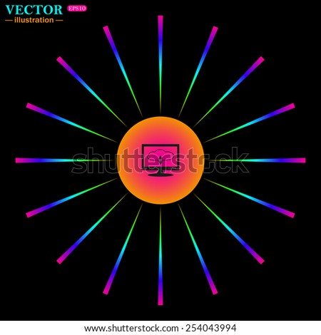 Bright multi-colored circle with rays on a black background. cloud storage on the computer, vector illustration, EPS 10 - stock vector