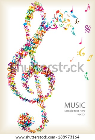 bright music clef and notes - stock vector