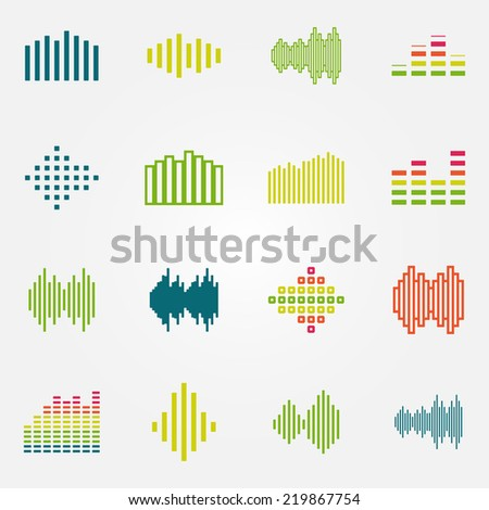 Bright music soundwave or equalizer icons set - vector audio symbols - stock vector