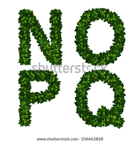 Bright natural alphabet from green leaves. Set. Letters n, o, p, q - stock vector