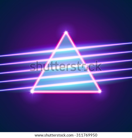 Bright neon lines background with 80s style and triangle - stock vector