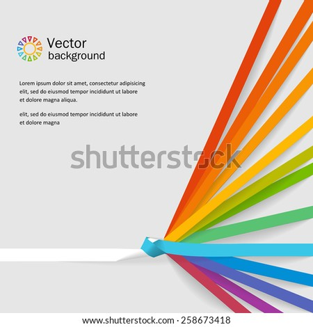 Bright neutral background with tapes - a rainbow. Vector. - stock vector