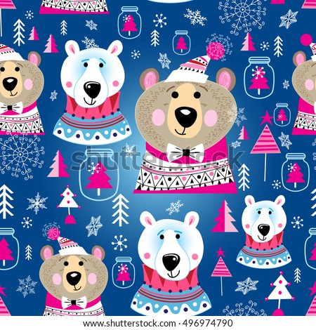 Bright New Year pattern of portraits of bears on a blue background with snowflakes and Christmas trees