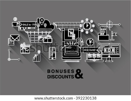 Bright one page web design template with online shopping discount and price bonus system, big sales offer from various store icons. Flat design graphic concept website elements layout - stock vector
