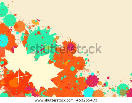 Bright orange and green watercolor paint splatter frame with autumn maple leaves, horizontal format.