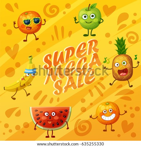 Bright orange background with crazy funny fruit characters. Cheerful food emoji present super sale banner. Cartoon vector illustration: green apple, banana, cheerful orange, fool watermelon, pineapple